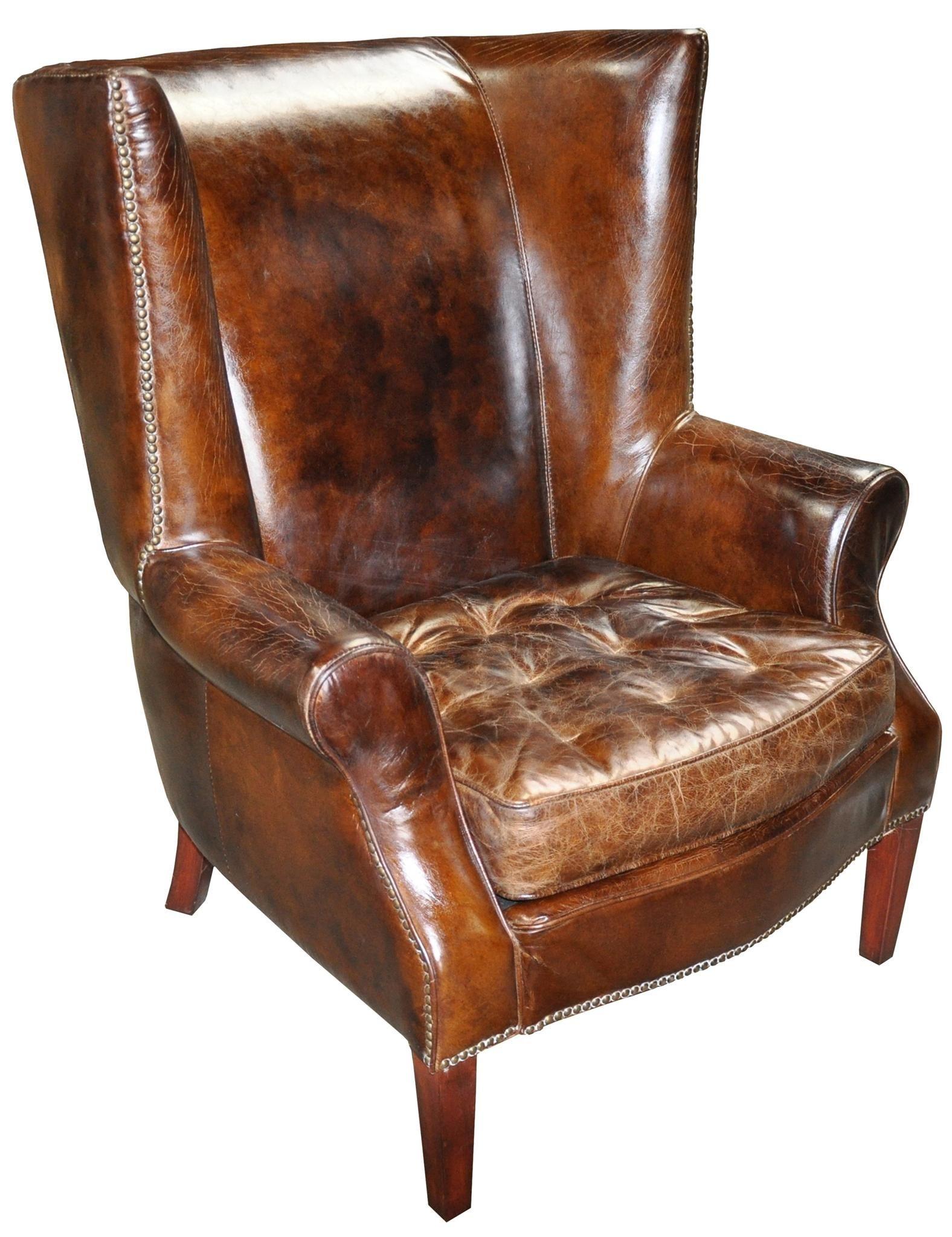 36 Wide Wing Club Arm Chair Vintage Brown Cigar Italian