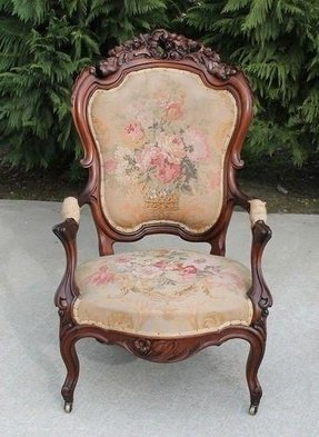 685 00 fancy carved walnut victorian parlor arm chair circa