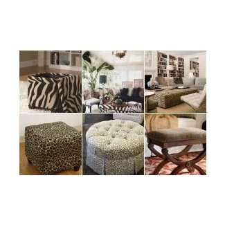 Animal print ottomans