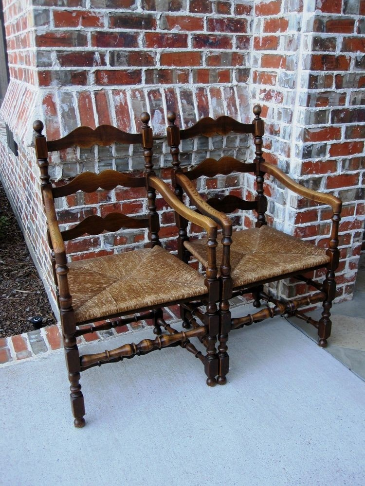 Antique french pair 2 oak farmhouse arm dining chairs ladder