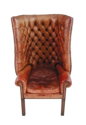 Antique leather swivel chair