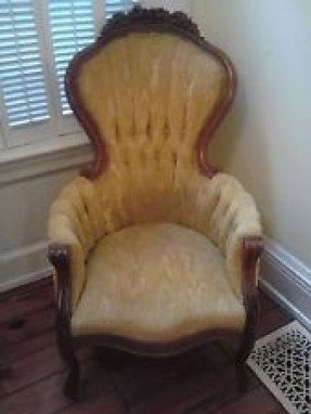 Antique Victorian Walnut Carved Arm Chair Original C 1900