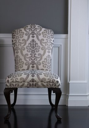 Black fabric dining chairs