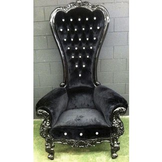 Black on black high back queens throne