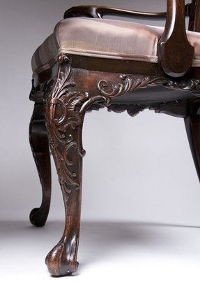 Carved mahogany chippendale style chair