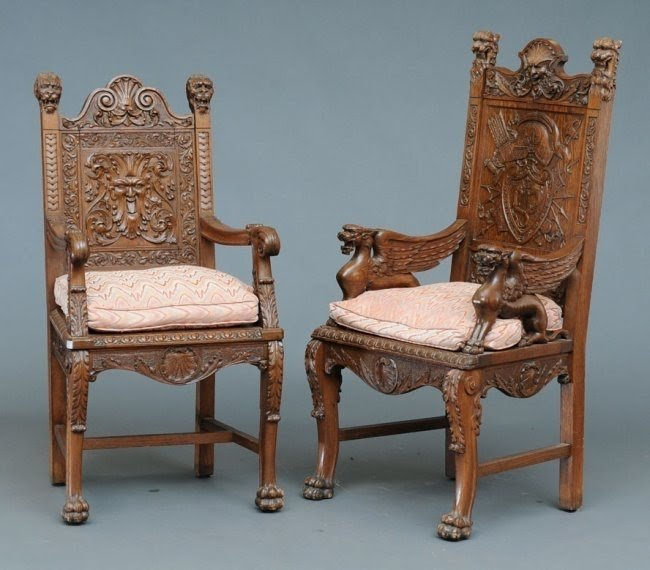Carved oak arm chair 3