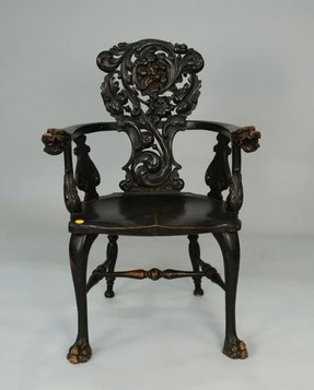 Carved oak arm chair 7