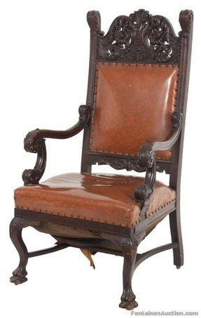 Carved oak arm chair