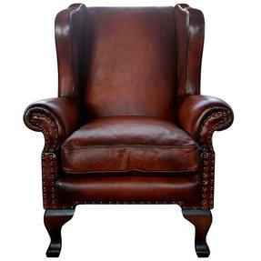 Chestnut brown leather chair 26