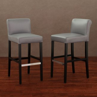 Cosmopolitan charcoal leather barstool set of 2 3