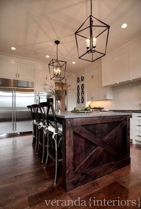 Dark kitchen island
