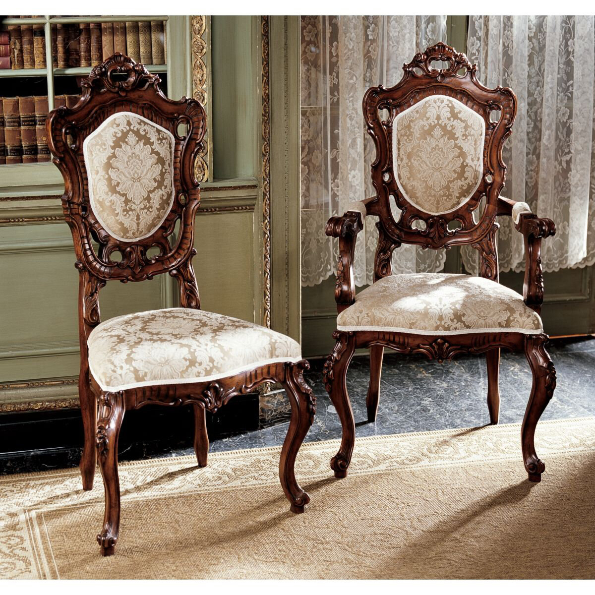 Design Toscano AF91552 Toulon French Rococo Chairs Set Includes: 4 Side  Chairs And 2 Armchairs