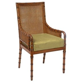 Double cane faux bamboo arm chair