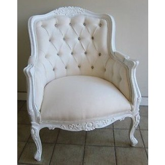 French provincial louis xv wing chair maybe too white pure