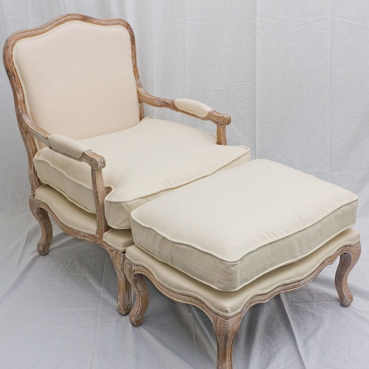 French Provincial Style Louis Xv Arm Chair Sofa With Ottoman Footstool Solid Oak