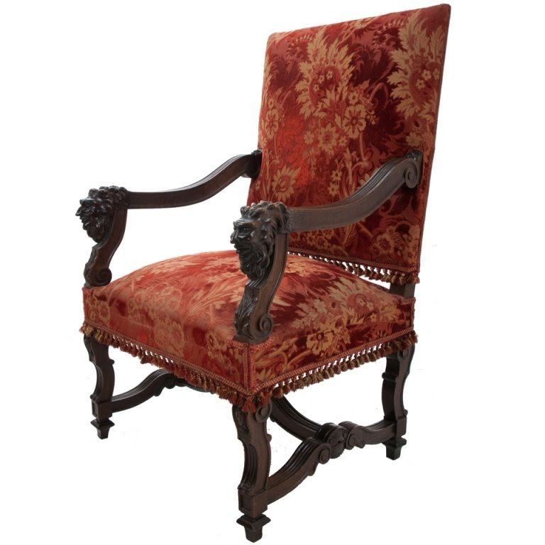 French renaissance revival walnut fauteuil c late 1800s grotesques carved