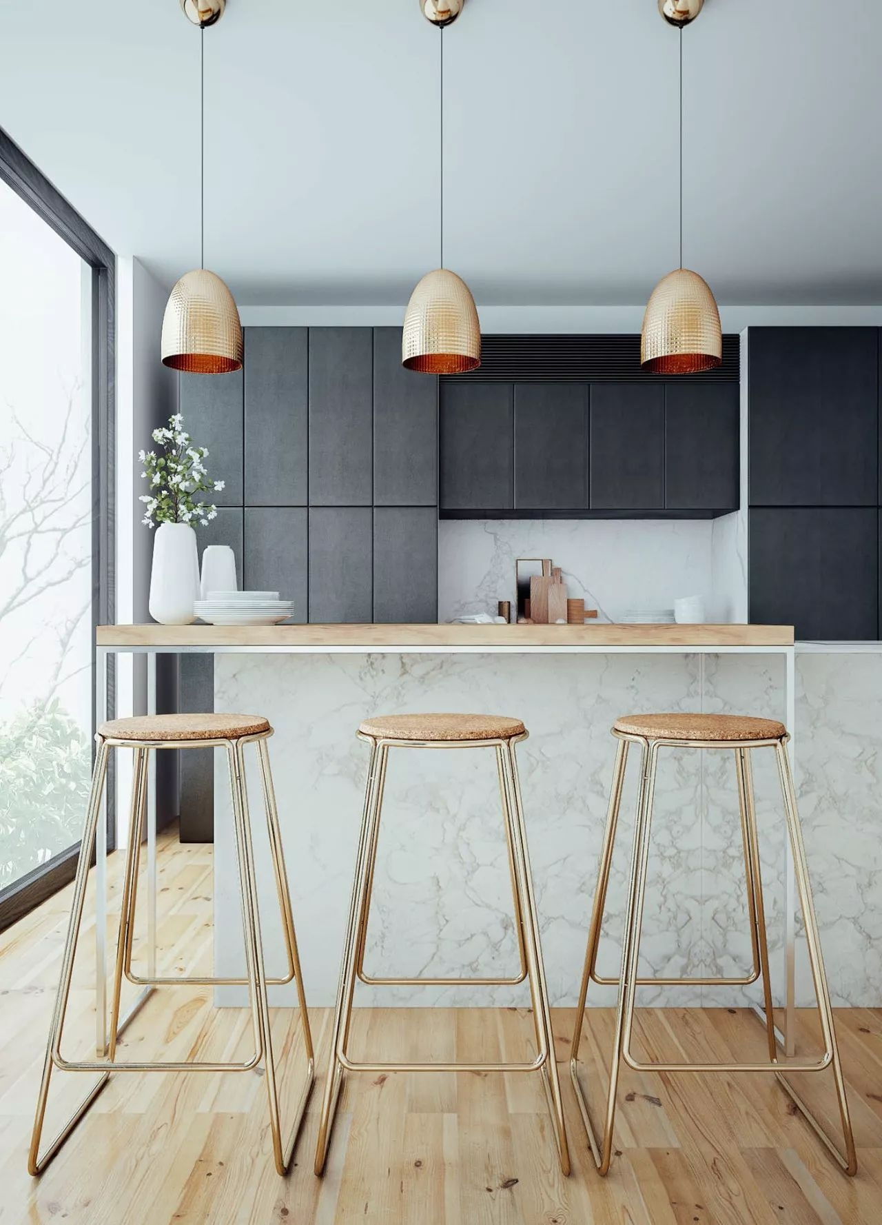 Those Three Barstools Will Bring Class And Modern Flavor To Your Bright  Kitchen. Each Of Those Beauties Stands On A Tubular Metal Frame With Gold  Finish, ...