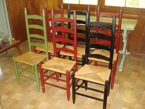 Ladder back chairs with rush seats