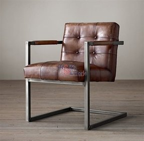 Leather square arm chair