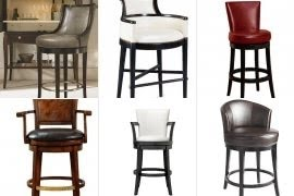 Exceptional Leather Swivel Bar Stools