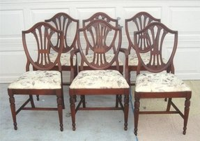 Mahogany shield back set of 6 dining chairs