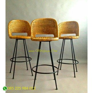 Mid century iron stools gorgeous boho woven reed seats california