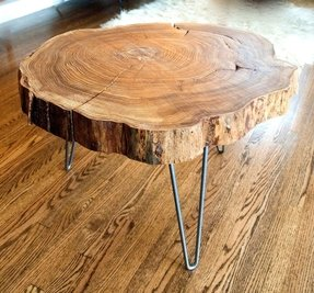 Natural live edge round slab side table