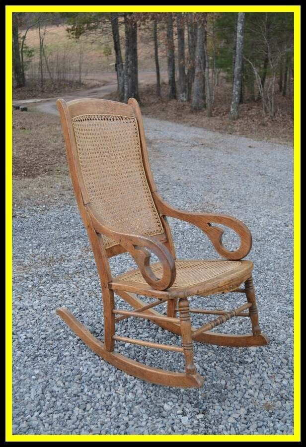 Beau Oak Rocking Chair Cane Back And Seat Antique By Panchosporch