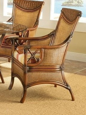 Pacifica wicker rattan dining arm chair