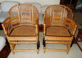 Pair of chinese chippendale asian arm chair rattan bamboo wicker