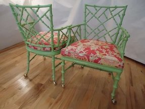 Pair of chinese chippendale iron bamboo arm chairs 1