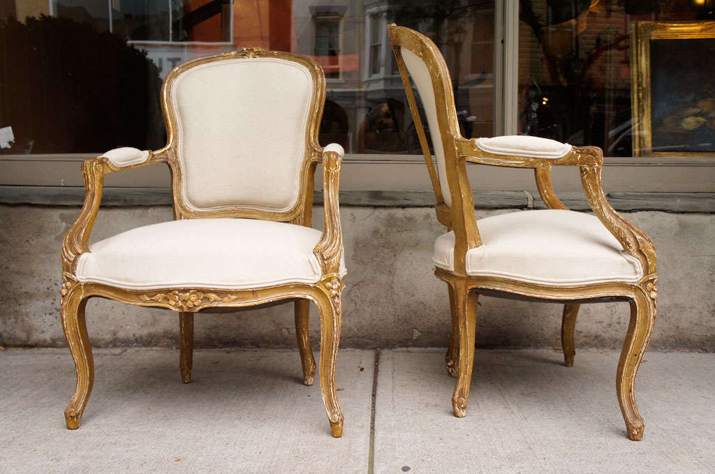 Pair Of Distressed Louis Xv Style Arm Chairs