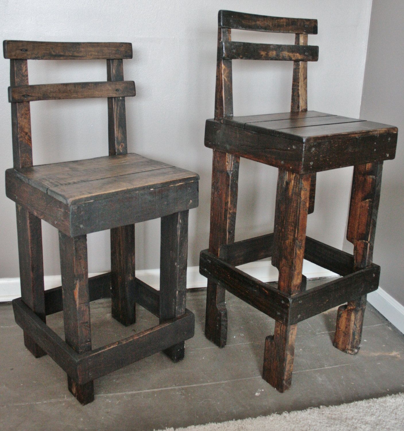 Pallet Wood Bar Stool With Back