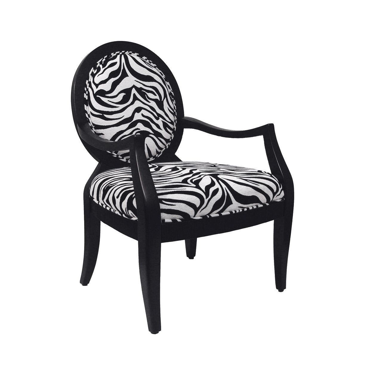 Royal Manufacturing Inc. Black Frame Chair With Zebra Fabric