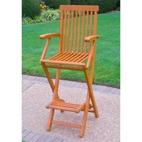 Royal tahiti folding bar chair with arms and footrest