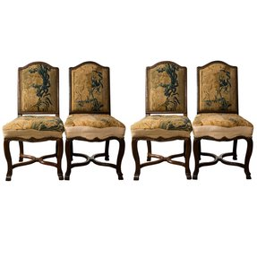 Set of 4 needlepoint french walnut chairs