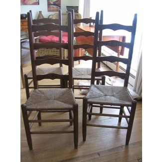 Set Of 4 Wood Antique Rustic Ladder Back Chairs Rush
