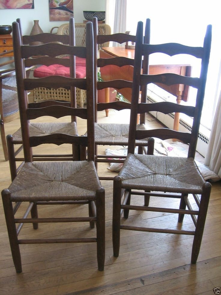 Merveilleux Set Of 4 Wood Antique Rustic Ladder Back Chairs Rush