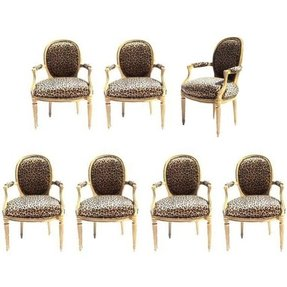 Set of 7 mid century louis xvi style arm chairs