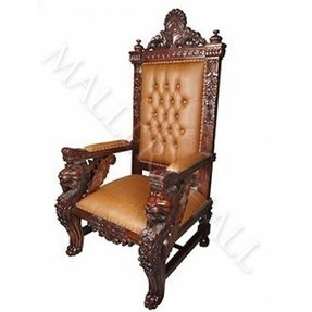 Solid mahogany square lion head carved arms leather tufted chair