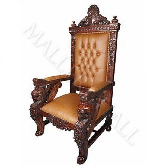 Charming Solid Mahogany Square Lion Head Carved Arms Leather Tufted Chair