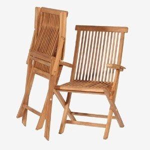 Solid Teak Fold Flat Arm Chairs