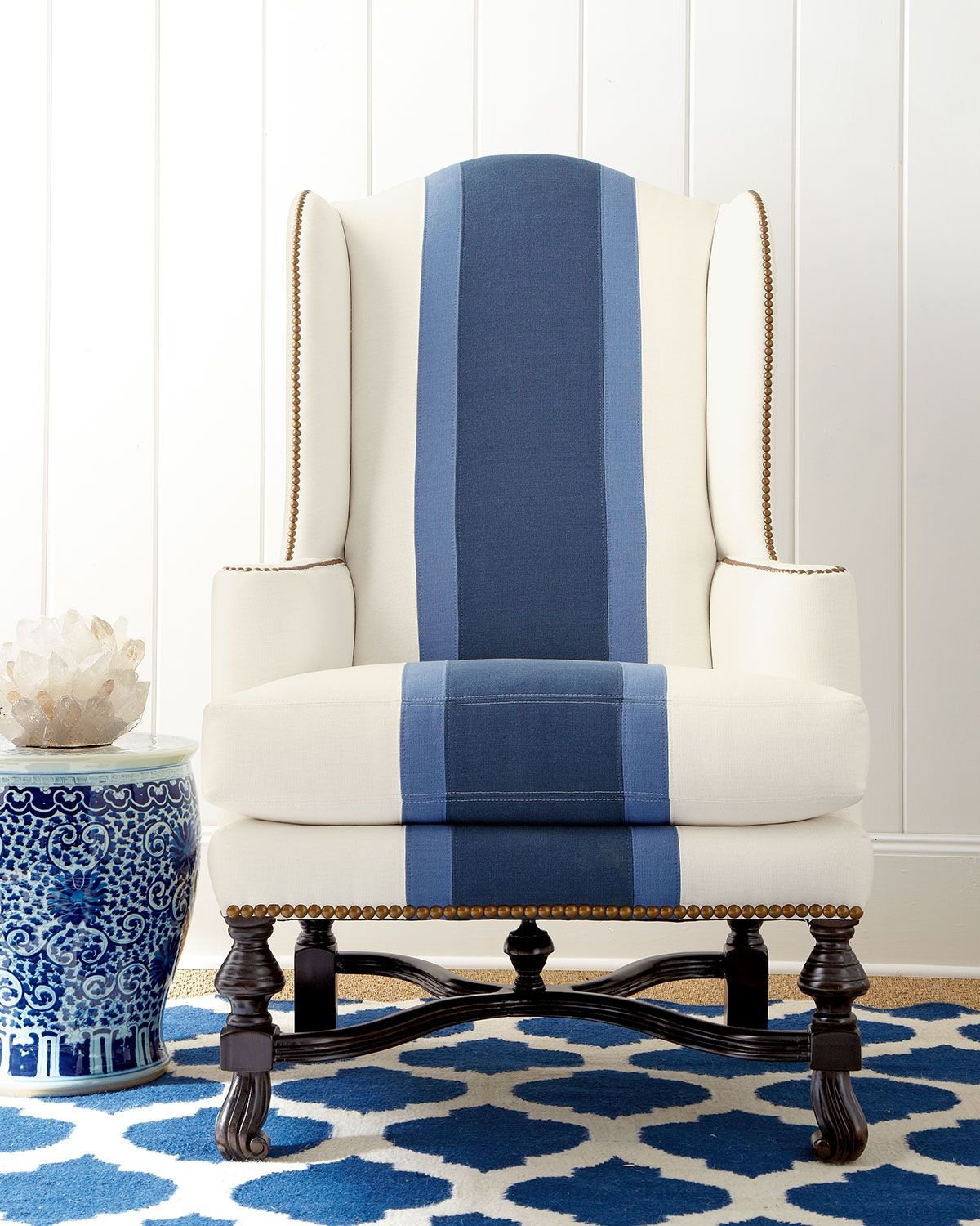 Comfortable Chair With Soft Seat Cushion And Attractive Surface That  Include A Pattern That Shows A Large Blue Two Toned Stripe. This  Comfortable Chair Also ...