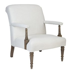 Sutter white linen upholstered leisure arm chairs set of 2