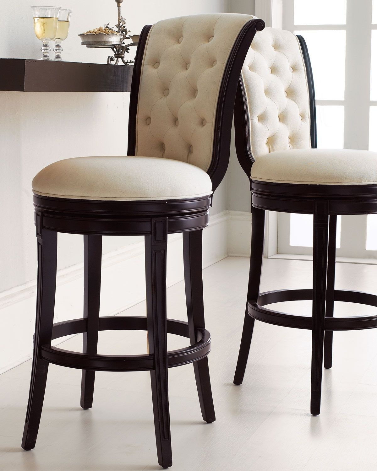 Swivel leather bar stools