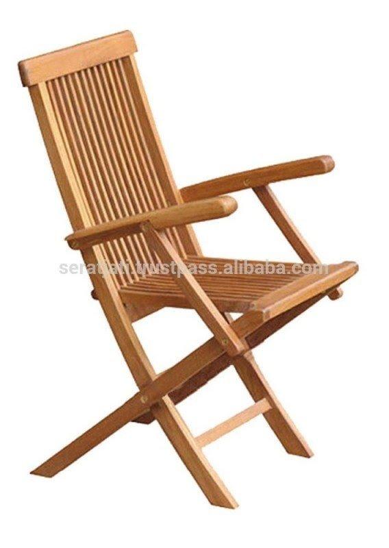 Delightful Teak Folding Arm Chairs