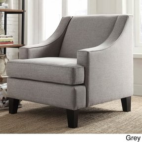 Tribecca home winslow taupe concave arm modern accent chair 1