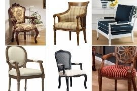 Upholstered carved wood accent chair