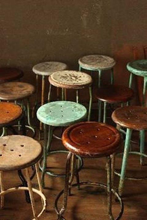 Vintage Industrial Bar Stools 1