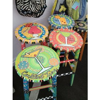 Whimsically painted 30 in bar stools